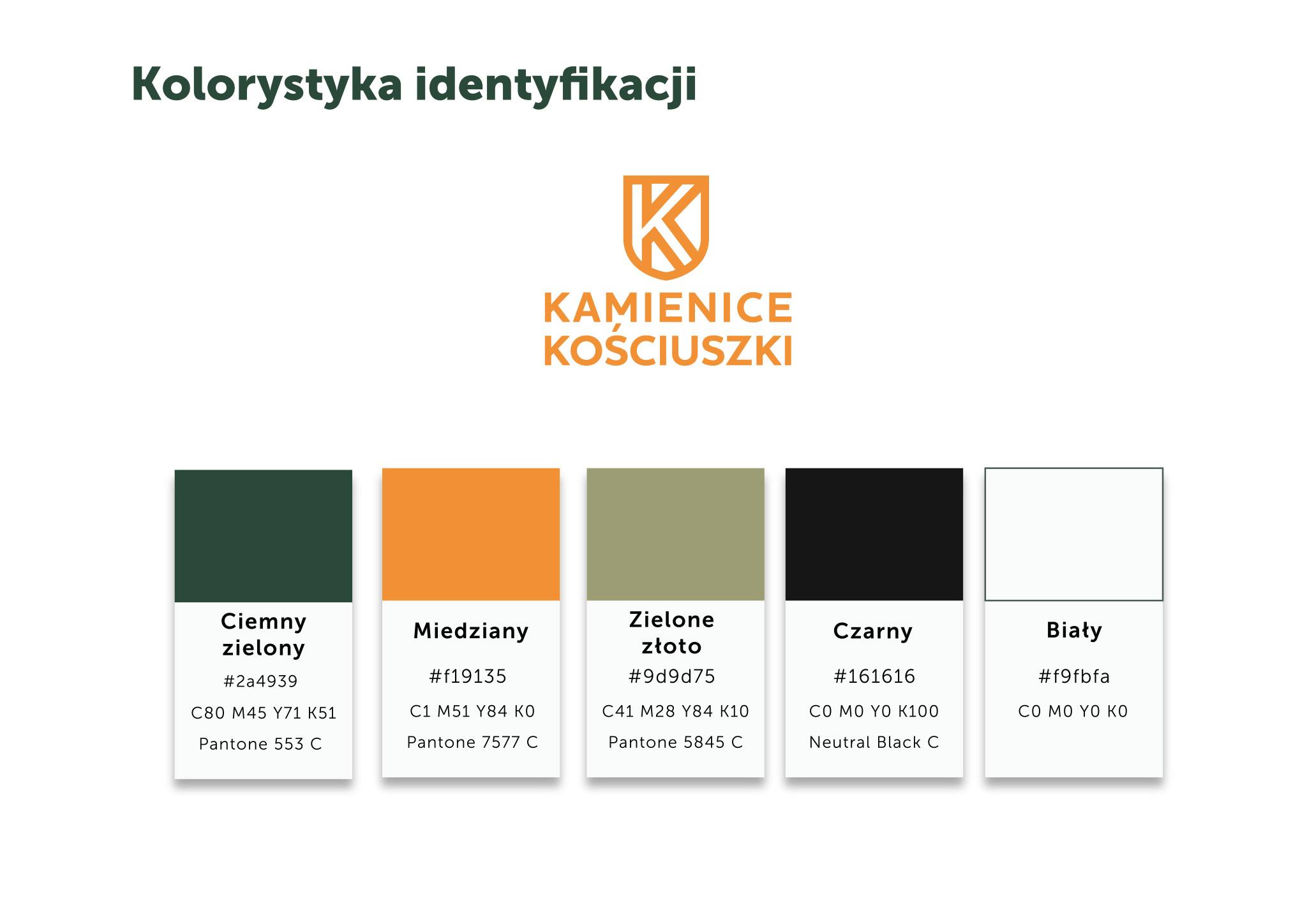 kolorystyka identyfikacji wizualnej Kamienice Kosciuszki Gliwice