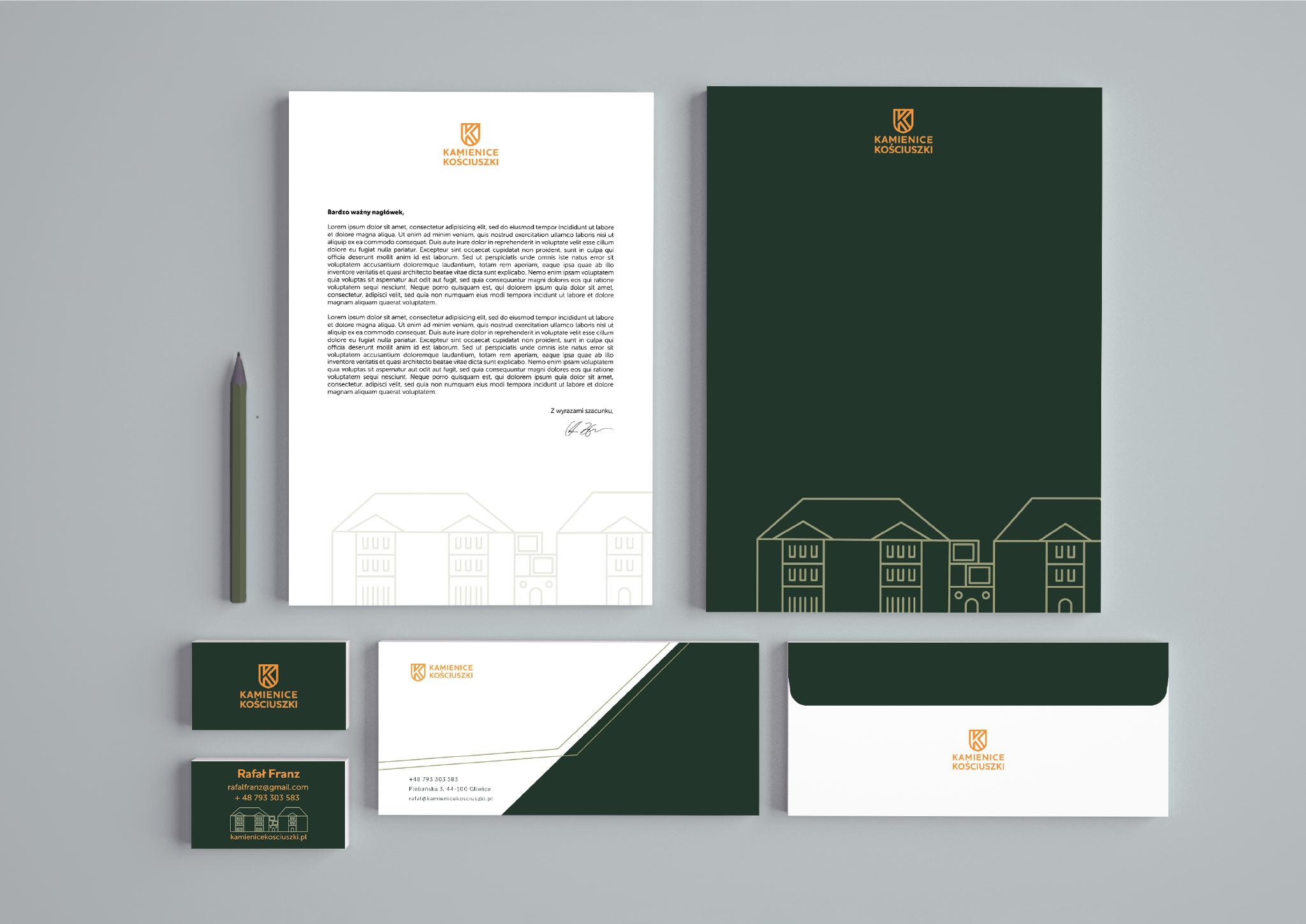 materiały biurowe identyfikacja wizualna Kamienice Kosciuszki Gliwice