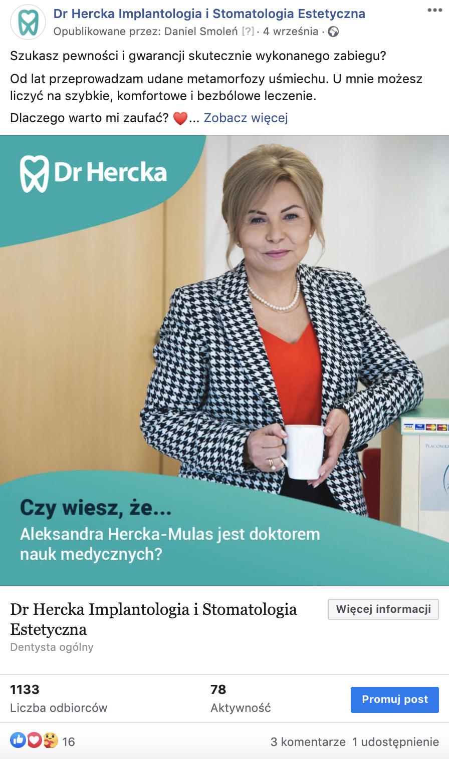 post na facebooku dr Hercka