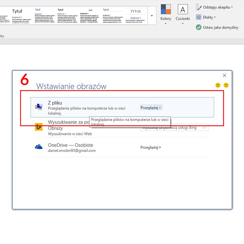 dodaj papier firmowy do Microsoft Word