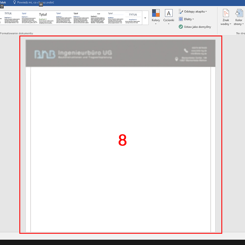 gotowy papier firmowy wgrany do Microsoft Word